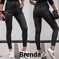 Брюки женские кожаные чёрные, фото 1