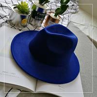 Капелюх фетровий WildJazz Федора з стійкими полями синя, фото 1