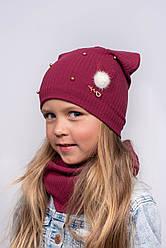 Детская трикотажная шапка и хомут р52-54 подкладка х/б