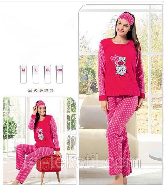 Пижама женская махра+флис и повязка для сна STAR 1003