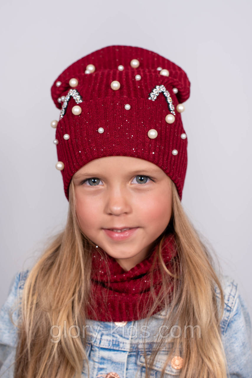 Осенний трикотажный набор шапка и хомут для девочек р52-54 подкладка х/б