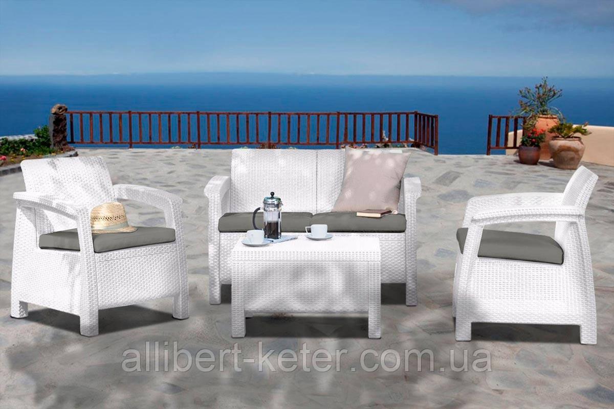 Набір садових меблів Corfu Set White ( білий ) з штучного ротанга ( Allibert by Keter )