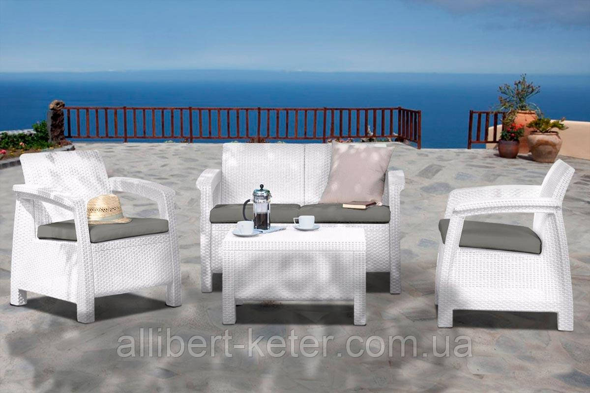 Набор садовой мебели Corfu Set White ( белый ) из искусственного ротанга