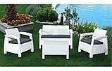 Набір садових меблів Corfu Set White ( білий ) з штучного ротанга ( Allibert by Keter ), фото 9