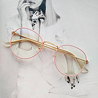 Ретро имиджевые очки №2 с анти блик  розовый+золото