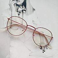 Ретро имиджевые очки №2 с анти блик  розовый