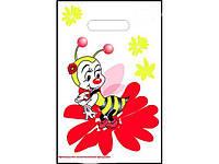 """Пакет з прорізною ручкою тип банан (20*30) """"Бджілка"""" ХВГ (100 шт)Поліетиленові пакети купити оптом"""