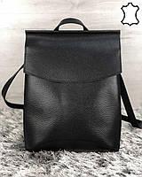 Женская кожаная сумка-рюкзак WeLassie Молодежный (Украина), черный цвет. Сумка из натуральной кожи, стильный молодежный рюкзак