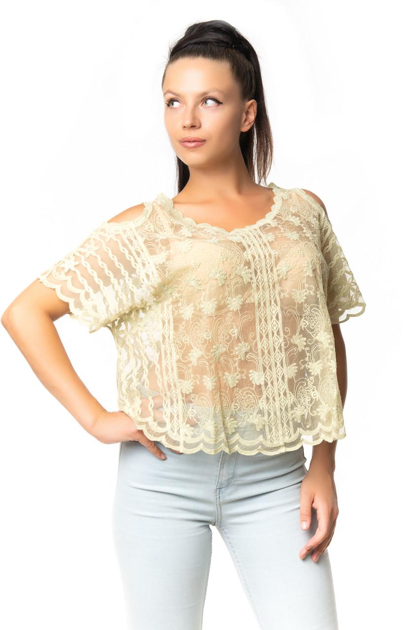 Оригинальная блузка из гипюра 44-50
