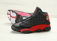 Мужские баскетбольные кроссовки Nike Air Jordan 13 Black Red черные с красным, фото 1