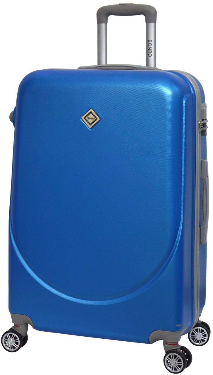 Чемодан дорожный Bonro Smile большой с двойными колесами голубой