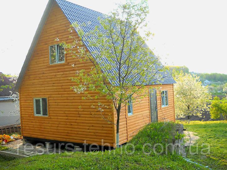 Дачный домик 6м х 6м.Блокхаус.С мансардой
