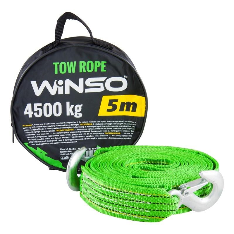 Трос буксировочный 4.5 т 5,0м зеленый / крюка / сумка Winso 134550