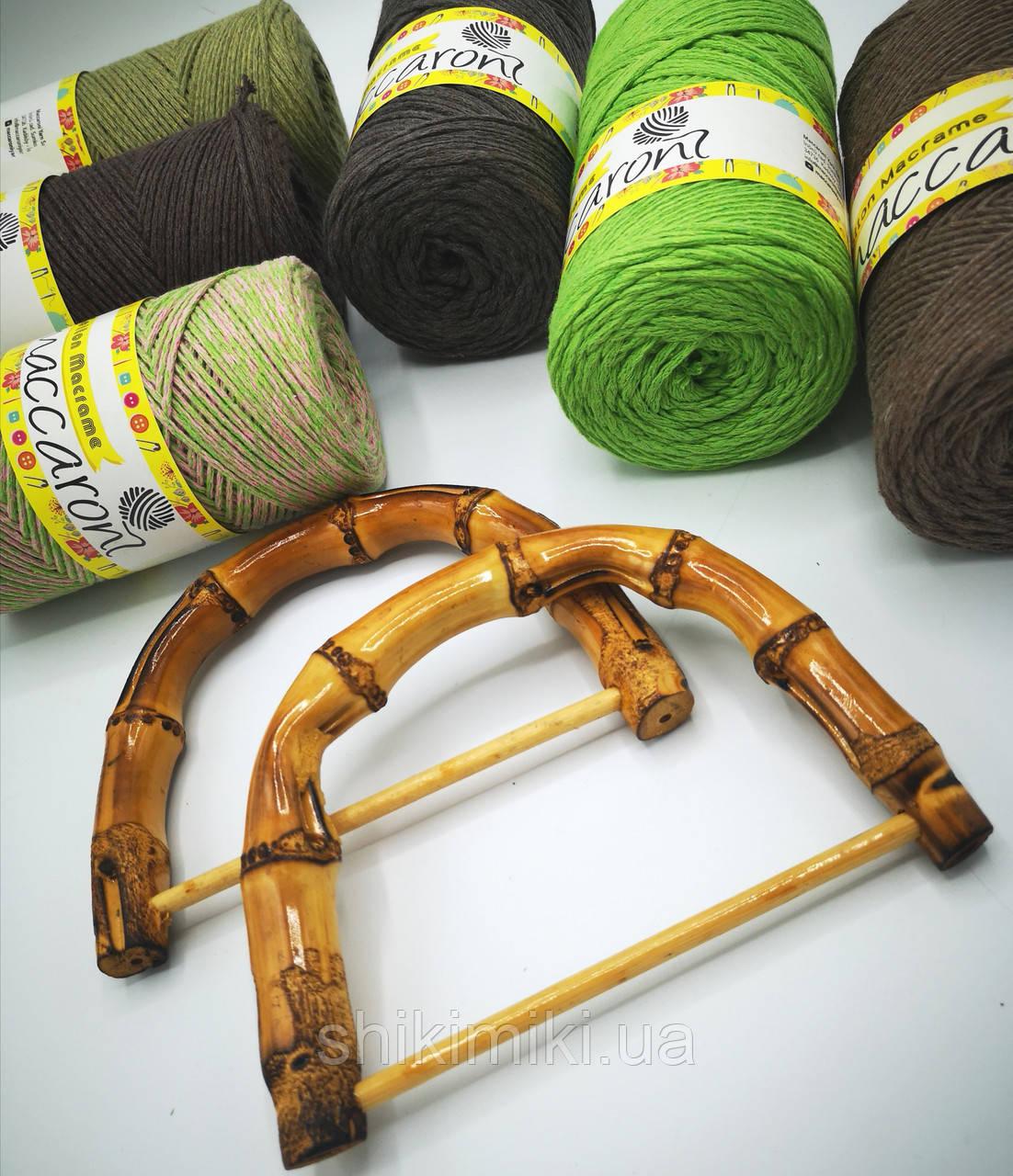 Ручки для сумок полукруглые бамбуковые темные