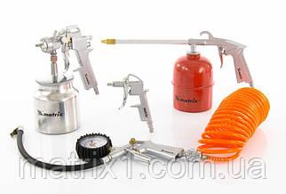 Набір пневмоінструменту, 5 предметів, швидкознімне соед., краскорасп. з нижнім бачком// MTX
