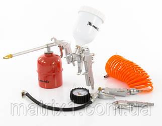 Набір пневмоінструменту, 5 предметів, швидкознімне соед., краскорасп. з верхнім бачком// MTX