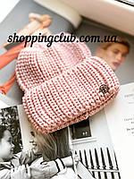 Женская шапка теплая с двойным отворотом розовая