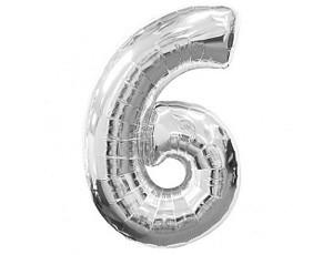 Фольгована цифра 6 срібло 100 см, Flexmetal Іспанія