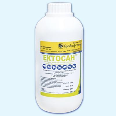 Эктосан 1 л (Бровафарма) ветеринарный противопаразитарный препарат против клещей, вшей, блох и мух