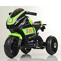Детский трехколесный электромотоцикл. MP3. Два мотора 25W, два аккумуляторов6V4AH. Bambi M 4135L-7 Зеленый