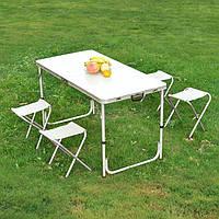 Стол раскладной для пикника + 4 стула в чемодане. Белый Мрамор.