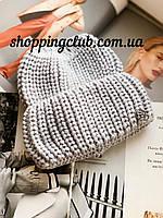 Женская шапка теплая с двойным отворотом серая