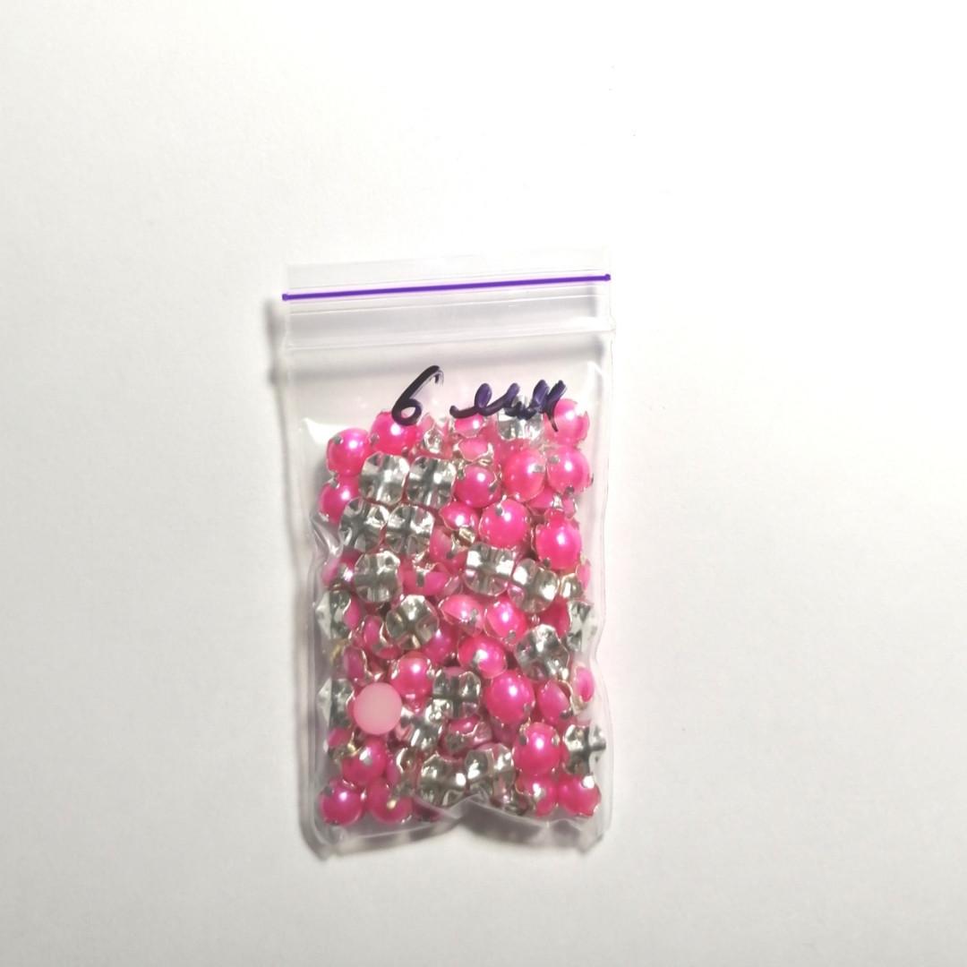 Полубусины в оправе пришивные - 6мм, розовые