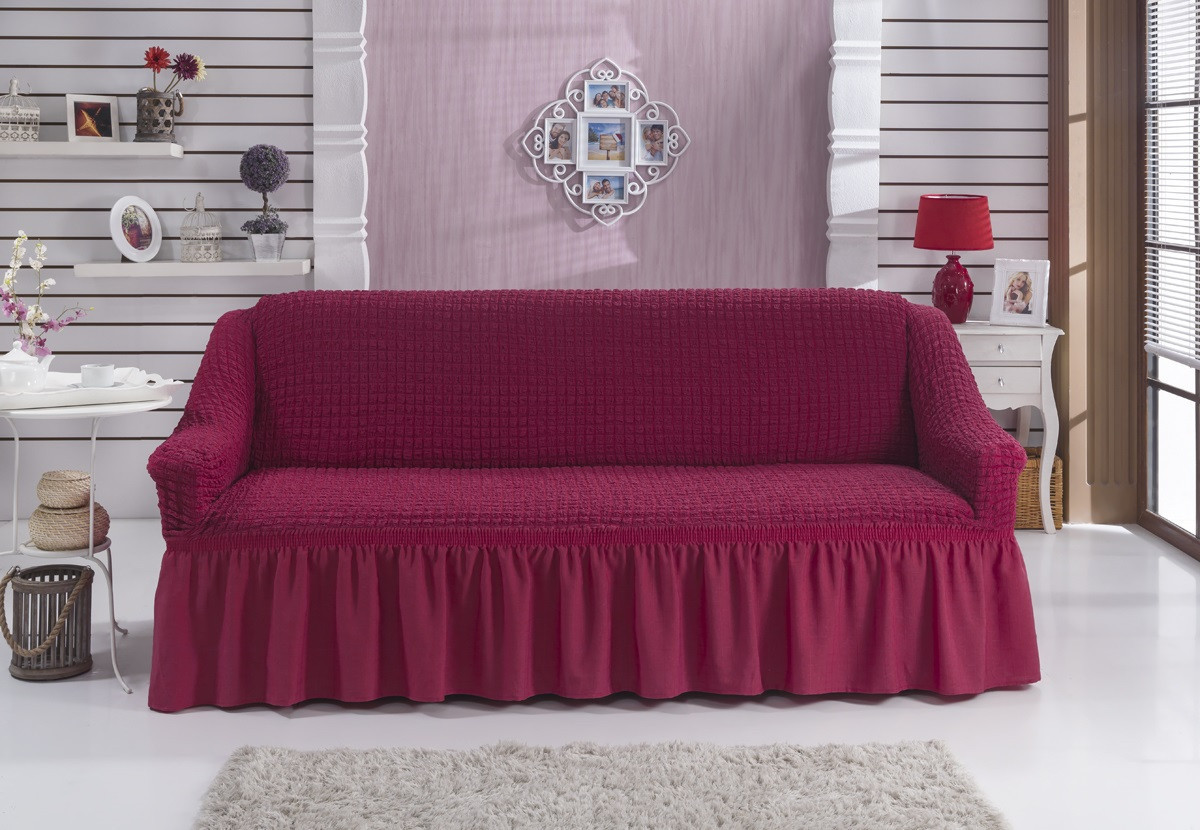 Чохол на диван з спідницею Баклажан Home Collection Evibu Туреччина 50121
