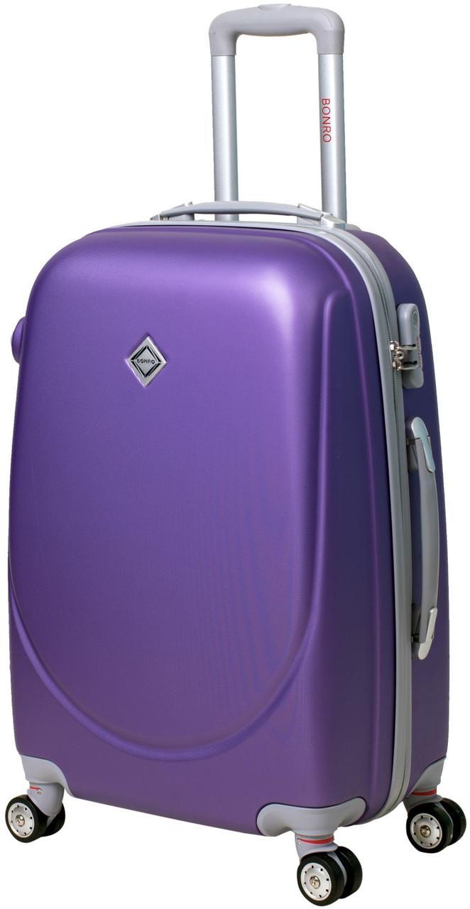 Чемодан дорожный Bonro Smile средний с двойными колесами фиолетовый