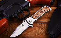 Нож складной с металлической и деревянной цельнометаллической рукоятью, устойчив к влаге, стильный, фото 1
