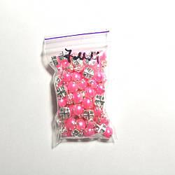 Полубусины в оправі пришивні - 7мм, рожеві