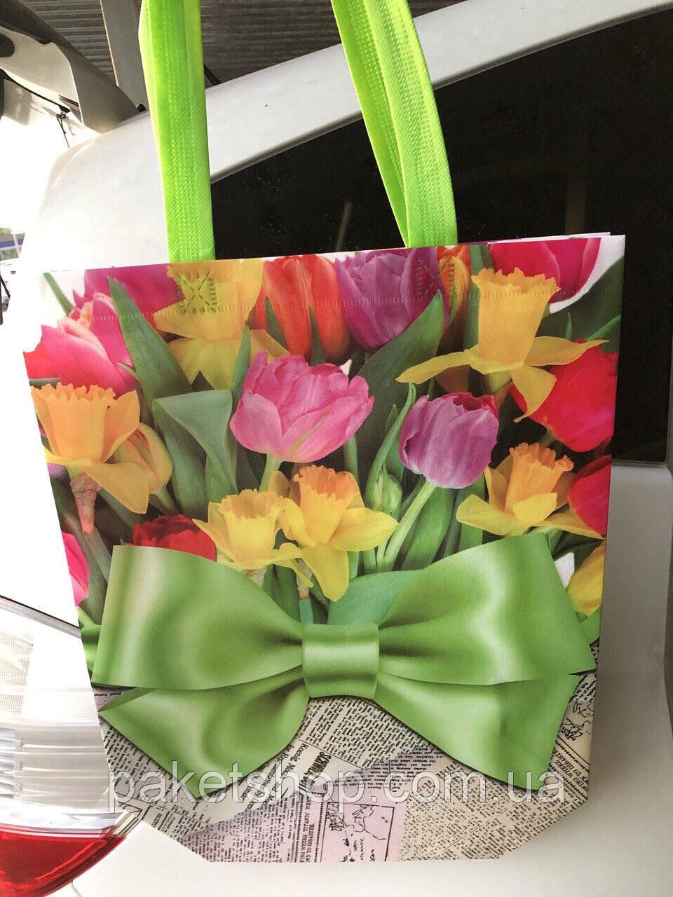 Эко-сумка с ручками ''Цветы'', 31*42*12 см