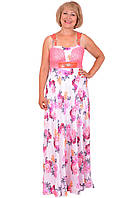 Изящное летнее платье длинное в пол с красивым веточным принтом
