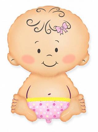 Фольгированный шар фигура малыш девочка  Flexmetal, 67*46 см