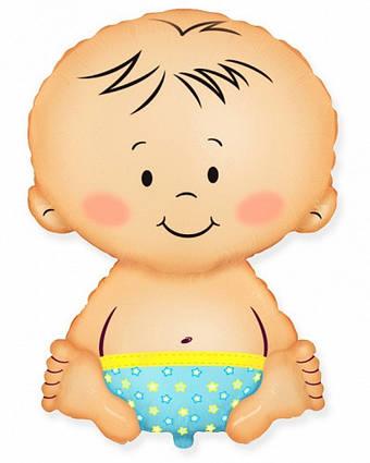 Фольгированный шар фигура малыш мальчик  Flexmetal, 67*46 см