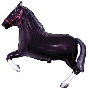 Фольгированный шар Лошадь 29см х 42см Черный