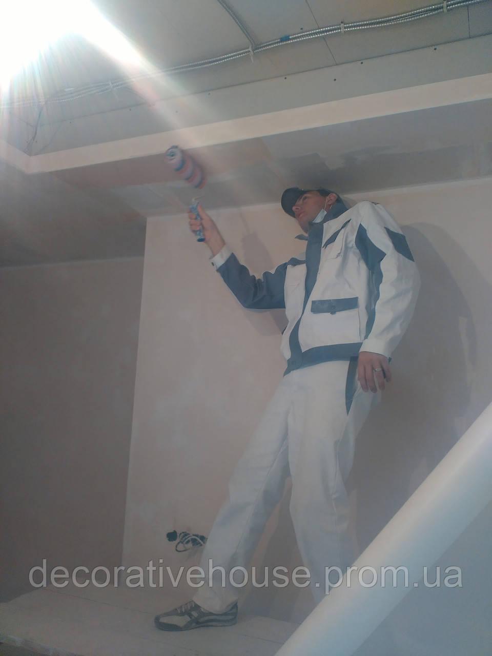 Покраска стен и потолков валиком и кистью