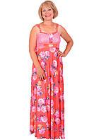 Очаровательное женское платье больших размеров в цветы