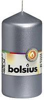Свеча цилиндр Bolsius 12 см серебристая (60/120-271Б)