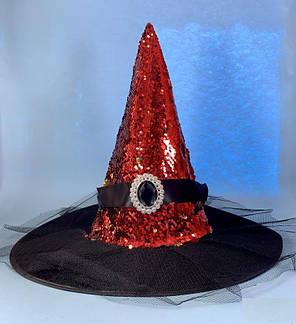 Колпак Ведьмы с пайеткой и брошью красный, фото 2
