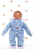 Зимний комбинезон для новорожденных - человечек от 0 до 6 месяцев (голубой)