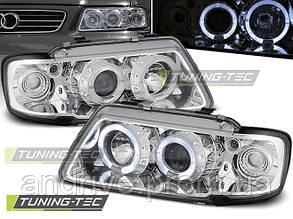"""Передние фары Audi A3 8L (1996-2000) тюнингованные """"ангельские глазки"""""""