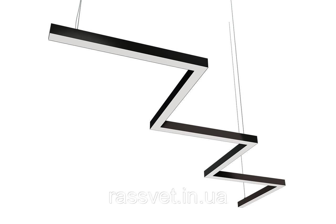 Светодиодный светильник зигзагообразный (зигзаг) , подвесной, накладной, профильный ,офисный 15-750 вт Z