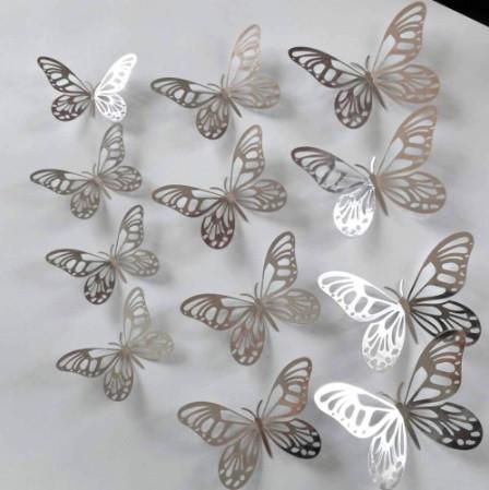 Бабочки серебро на скотче - в наборе 12шт. разных размеров, в комплект входит 2-х сторонний скотч