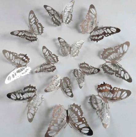 Бабочки серебро на скотче - 12шт. в наборе