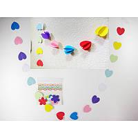 Гирлянда Сердечки  3-Д (разноцветные) 1,2 метра