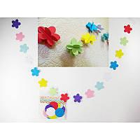 Гирлянда цветочки  3-Д (разноцветные) 1,2 метра