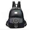 Рюкзак женский кожзам с брошкой Черный, фото 2