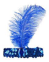 Повязка на голову с пером, цвет синий, ретро стиль, стиль Чикаго, гангстерский стиль