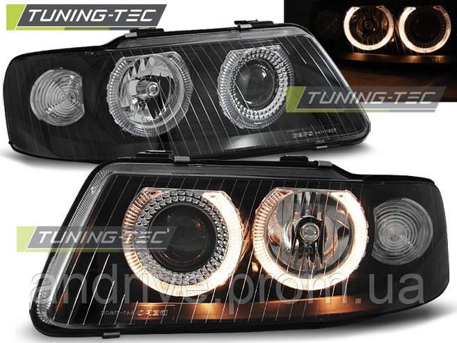 """Передние фары Audi A3 8L (2000-2003) """"ангельские глазки"""" темные"""